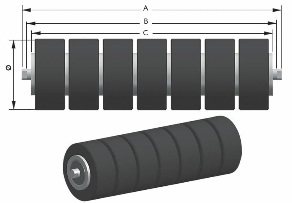 rolete de impacto para correia transportadora 1024x713 - Rolete de Impacto
