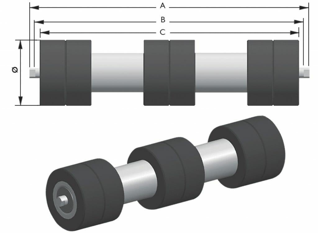 rolete de retorno com aneis para correia transportadora 1024x751 - Rolete de Retorno com Anéis